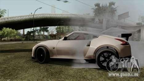Nissan 370Z Nismo für GTA San Andreas zurück linke Ansicht