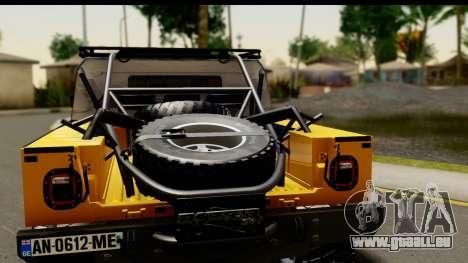Hummer H1 6-Wheel pour GTA San Andreas vue de droite