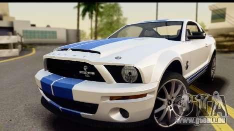 Ford Mustang Shelby GT500KR pour GTA San Andreas sur la vue arrière gauche
