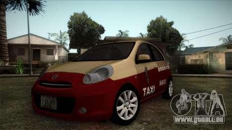 Nissan Micra Taxi DF 2012 für GTA San Andreas