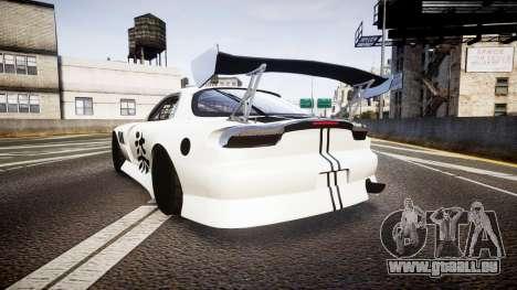 Mazda RX-7 Mad Mike Final Update three PJ pour GTA 4 Vue arrière de la gauche