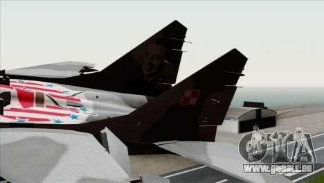 MIG-29A Polish Air Force Kosynierzy für GTA San Andreas zurück linke Ansicht
