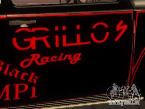 Volkswagen Super Beetle Grillos Racing v1 pour GTA San Andreas vue intérieure