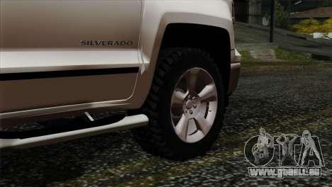 Chevrolet Silverado 2014 LTZ für GTA San Andreas zurück linke Ansicht