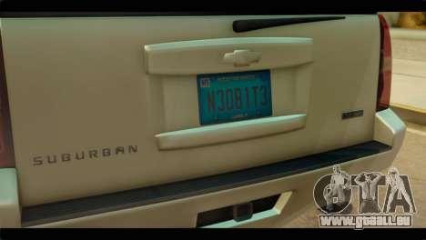 Chevrolet Suburban 2010 NFS für GTA San Andreas Rückansicht
