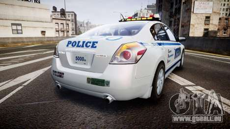 Nissan Altima Hybrid NYPD pour GTA 4 Vue arrière de la gauche