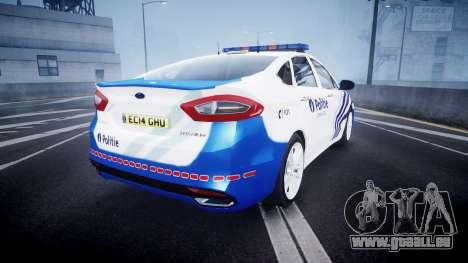 Ford Fusion 2014 Belgian Police [ELS] pour GTA 4 Vue arrière de la gauche