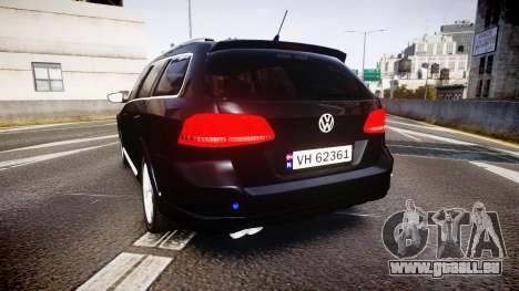 Volkswagen Passat B7 Police 2015 [ELS] unmarked für GTA 4 hinten links Ansicht