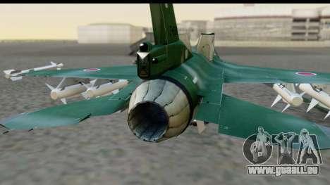 F-2A Zero Dark Green pour GTA San Andreas vue arrière