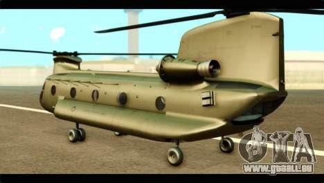 CH-47 Chinook pour GTA San Andreas laissé vue