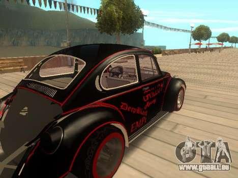 Volkswagen Super Beetle Grillos Racing v1 pour GTA San Andreas sur la vue arrière gauche