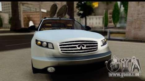 Infiniti FX 45 2007 pour GTA San Andreas sur la vue arrière gauche