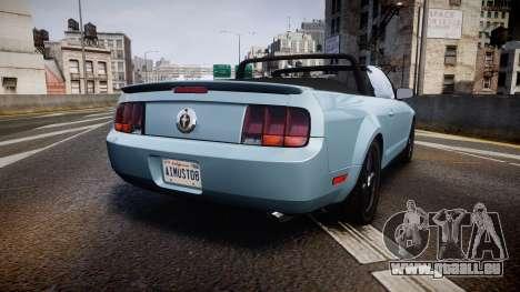 Ford Mustang Convertible Mk.V 2008 pour GTA 4 Vue arrière de la gauche