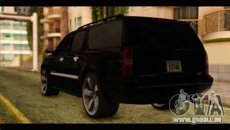 Chevrolet Suburban 2010 FBI pour GTA San Andreas laissé vue