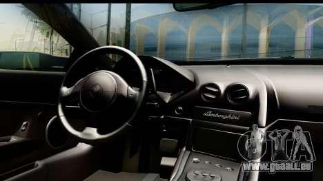 Lamborghini Reventon 2008 pour GTA San Andreas vue intérieure