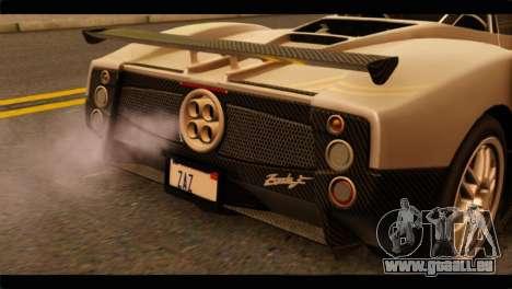 Pagani Zonda F für GTA San Andreas Rückansicht