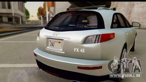 Infiniti FX 45 2007 pour GTA San Andreas vue de droite
