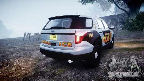 Ford Explorer Police Interceptor [ELS] marked pour GTA 4 Vue arrière de la gauche