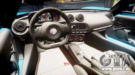 Alfa Romeo 4C 2014 pour GTA 4 Vue arrière