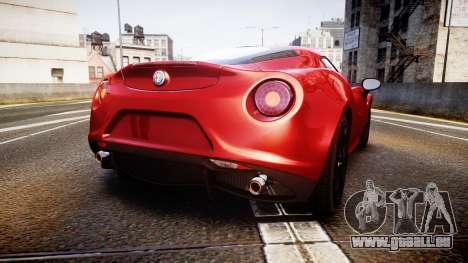 Alfa Romeo 4C 2014 pour GTA 4 Vue arrière de la gauche