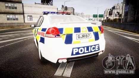 Holden VE Commodore SS Police HWP [ELS] pour GTA 4 Vue arrière de la gauche