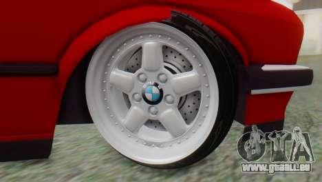 BMW M3 E30 B. O. de la Construction pour GTA San Andreas sur la vue arrière gauche