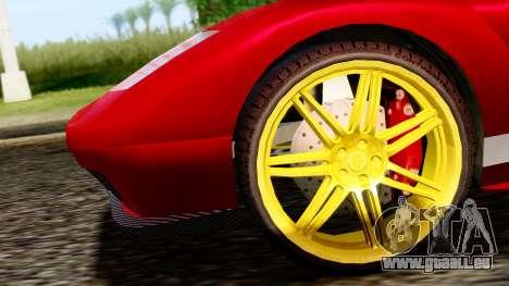 Pegassi Infernus Cento Miglia pour GTA San Andreas sur la vue arrière gauche