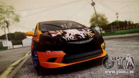 Honda Fit Street Modify Inori Yuzuriha Itasha pour GTA San Andreas vue arrière