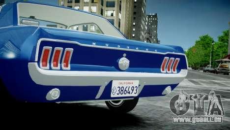 Ford Mustang 1967 pour GTA 4 est un droit
