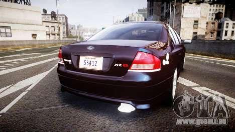 Ford Falcon XR8 2004 Unmarked Police [ELS] pour GTA 4 Vue arrière de la gauche