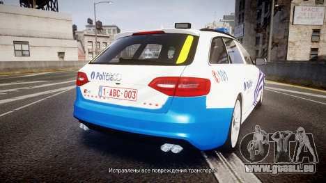 Audi S4 Avant Belgian Police [ELS] pour GTA 4 Vue arrière de la gauche