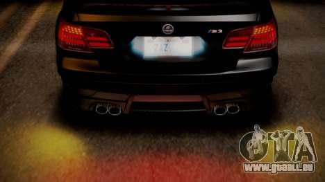 BMW M3 E92 Hamman pour GTA San Andreas vue de dessous