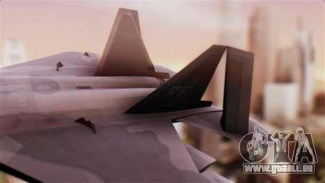 F-22 Raptor pour GTA San Andreas sur la vue arrière gauche