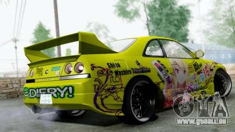 Nissan Skyline R33 Shiina Mashiro Itasha pour GTA San Andreas laissé vue