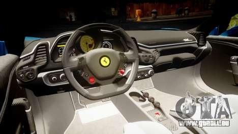 Ferrari 458 Speciale 2014 pour GTA 4 est une vue de l'intérieur