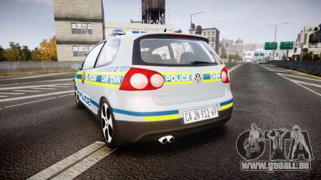 Volkswagen Golf South African Police [ELS] pour GTA 4 Vue arrière de la gauche