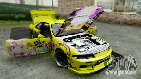 Nissan Skyline R33 Shiina Mashiro Itasha pour GTA San Andreas vue arrière