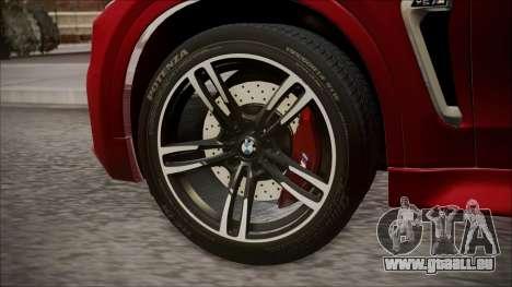 BMW X6M 2015 für GTA San Andreas zurück linke Ansicht