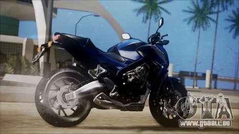 Honda CB650F Azul pour GTA San Andreas laissé vue