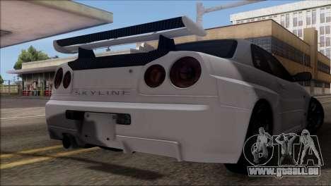 Nissan Skyline GT-R34 pour GTA San Andreas vue arrière