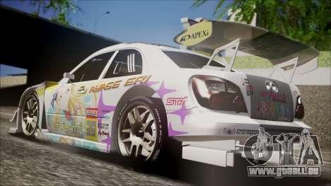 Subaru Impreza 2003 Love Live Muse Team Itasha pour GTA San Andreas sur la vue arrière gauche