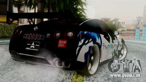 Nissan GT-R R35 Black Rock Shooter Itasha für GTA San Andreas linke Ansicht