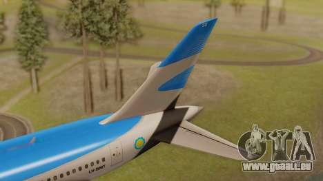 Boening 737 Argentina Airlines pour GTA San Andreas sur la vue arrière gauche