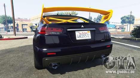 GTA 5 Karin Kuruma Mitsubishi Lancer Evolution X hinten links Seitenansicht