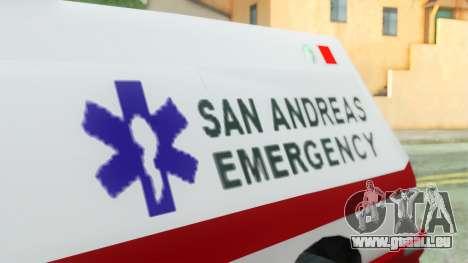 Premier Ambulance pour GTA San Andreas vue de droite