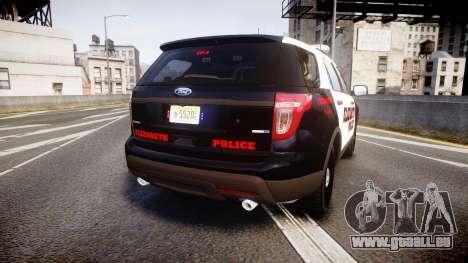 Ford Explorer 2011 Elizabeth Police [ELS] pour GTA 4 Vue arrière de la gauche