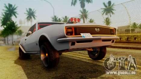 Chevrolet Camaro SS 1969 Drag Version pour GTA San Andreas laissé vue
