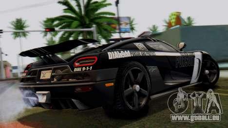 NFS Rivals Koenigsegg Agera R Enforcer pour GTA San Andreas laissé vue