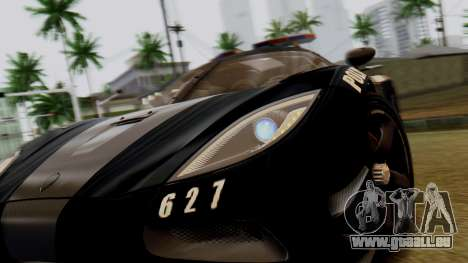 NFS Rivals Koenigsegg Agera R Enforcer für GTA San Andreas Rückansicht