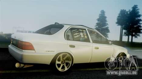 Toyota Corolla pour GTA San Andreas sur la vue arrière gauche